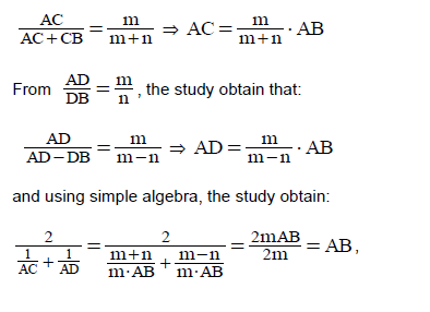 Educational research and reviews using the wonder of inequalities which means that the segment ab is the harmonic average of the sections ac and ad for example in every triangle the bisectors of the internal and external fandeluxe Choice Image